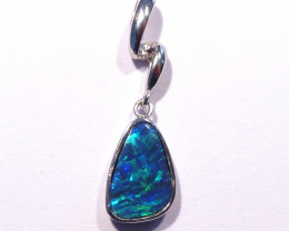 Beautiful Bright Australian Doublet Opal and Sterling Silver Pendant