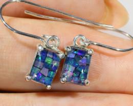 Rectangular Cute   Oval  Opal Triplet Earring OPJ 2027