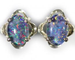Modern  Cute  Bright   Oval  Opal Triplet Earring OPJ 2029