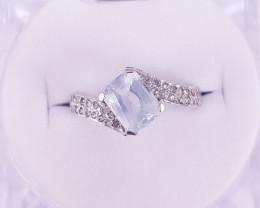 Aquamarine  Daimands Ring (Natural Stones)