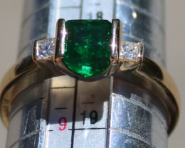 Emerald 1.24ct Diamonds Solid 18K Yellow Gold Ring,Certified,Appraised,Bran