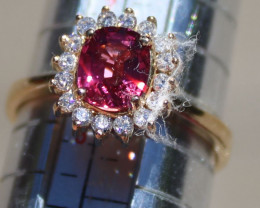Red Spinel 1.26ct Diamonds Solid 18K Yellow Gold Ring,Certified,Appraised,M