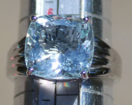 Aquamarine 5.22ct Solid 18K White Gold Ring,Certified,Appraised,Cushion,Bra