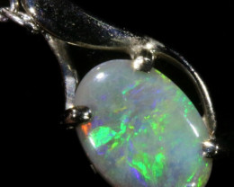 Australian Solid Fire Crystal Opal in 18k White Gold SB 779
