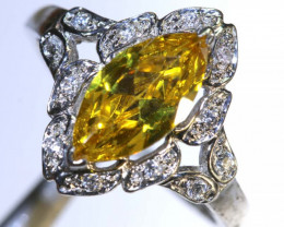 14.5 CTS CITRINE AND QUARTZ SILVER RING SG-2557