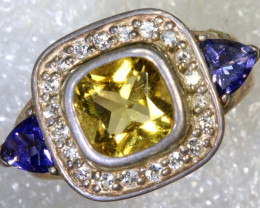 39 CTS CITRINE TANZANITE AND QUARTZ SILVER RING SG-2554