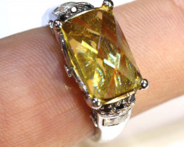 26.2 CTS CITRINE AND QUARTZ SILVER RING SG-2560