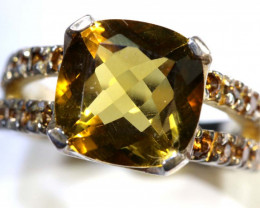 30.2 CTS CITRINE SILVER GOLD PLATED RING SG-2570