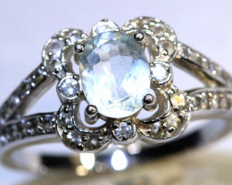 20 CTS AQUAMARINE AND QUARTZ SILVER RING SG-2564