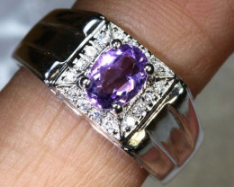 26.6 CTS AMETHYST AND QUARTZ SILVER RING SG-2571