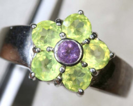 27.3 CTS PERIDOT AND AMETHYST SILVER RING SG-2585