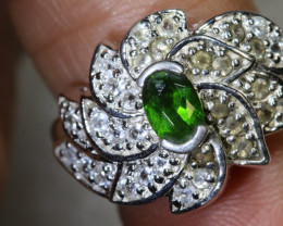 27.3CTS DIOPSIDE AND QUARTZ SILVER RING SG-2583