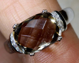 18 CTS SMOKEY QUARTZ SILVER RING SG-2588