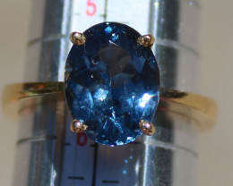 Blue Spinel 3.40ct Solid 22K Yellow Gold Solitaire Ring,Natural,Sourced Tun