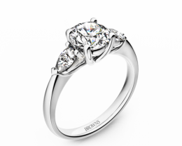 Round & Pear Trilogy Three stone Diamond Ring 18K White Gold