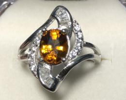 Wow Very nice Beautiful Mali Garnet With Zircon 925 Silver Ring