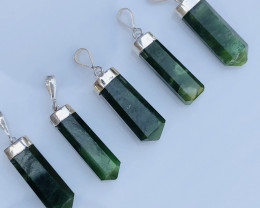 5 Pcs Of Natural Nephrite Pendents With Silver
