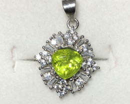Beautiful Peridot With CZ Necklace With Chain 925 Starling Silver