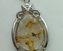 26.65 Cts Pear Rutile Quartz Cab Necklace / Pendant With Sterling 925 Silve