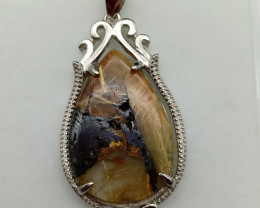 26.35 Cts Pear Rutile Quartz Necklace With 925 Sterling Silver For Women Fa