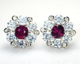 Natural Rubellite Silver Earrings With Cubic Zircons