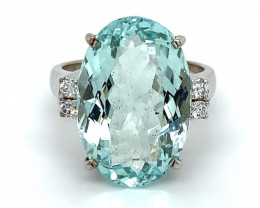 Aquamarine 15.27ct Diamonds Solid 18K White Gold Ring,Certified,Appraised,B