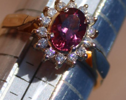 Pink Mahenge Spinel 1.01ct Diamonds Solid 18K Yellow Gold Ring,Certified,Ap