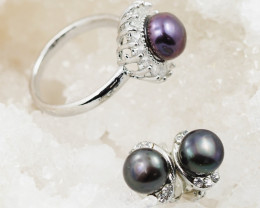 Fresh water Pearl  Ring French clasp  Earring  AM 1163