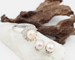 Fresh water Pearl  Ring French clasp  Earring  AM 1164