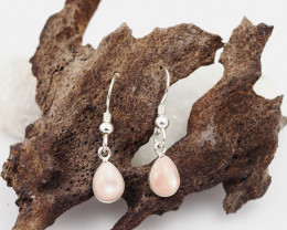 Sheppard hook  Pink shell  silver Earrings,  ,AM 1169