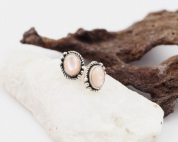 Pink shell ,traditional style  silver Earrings,  ,AM 1172