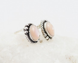 Pink shell ,traditional style  silver Earrings,  ,AM 1173