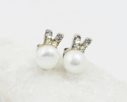Ivory fresh water Pearl ,cute  style  silver Earrings,  ,AM 1174