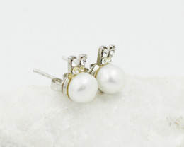 Ivory fresh water Pearl ,cute  style  silver Earrings,  ,AM 1177