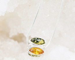 Baltic Amber Sale, Silver Pendant  on silver snake chain  AM1183