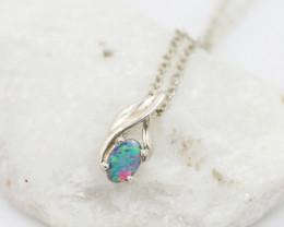 Cute Australian Doublet  Opal in Silver Pendant OPJ2049