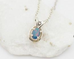 Cute Australian Doublet  Opal in Silver Pendant OPJ 2150