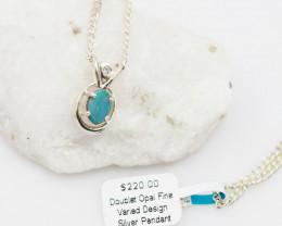 Cute Australian Doublet  Opal in Silver Pendant OPJ 2031