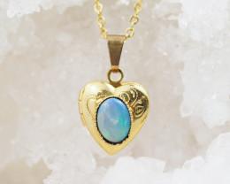 Cute Australian Solid   Opal in Heart Lock  Pendant OPJ 2033