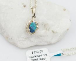Cute Australian Doublet  Opal in Silver Pendant OPJ 2034