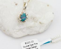 Cute Australian Doublet  Opal in Silver Pendant OPJ 2035