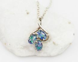 Cute Australian Cluster triplet   Opal in Silver Pendant OPJ 2038