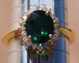 Tsavorite Garnet 3.60ct Diamonds Solid 18K Yellow Gold Cocktail Ring,Rare t