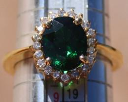 Tsavorite Garnet 3.60ct Diamonds Solid 18K Yellow Gold Cocktail Ring,Rare t