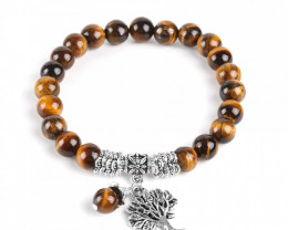 125 Ct Natural Tiger Eye Beads Braceletes Men Jewelry