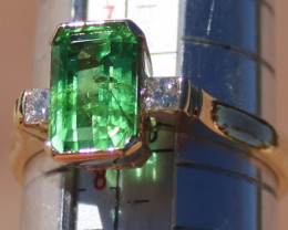Tsavorite Green Garnet 2.77ct Diamonds Solid 18K Yellow Gold Ring,Certified