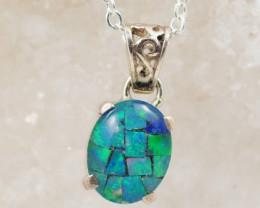 NICE  Australian Triplet   Opal in Silver Pendant  OPJ 2055