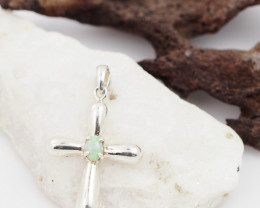 Australian Solid   Opal in Silver  Cross Pendant  OPJ 2059