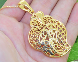 Abstract Ornate Gold-Filled Pendant