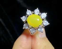 Natural Yellow Agaite Copper Ring With Cubic Zircons